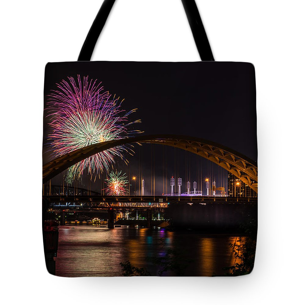 Cincinnati Reds Tote Bag featuring the photograph Reds Friday Night Fireworks by Constance Sanders