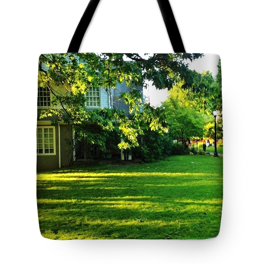 Reed College Tote Bag featuring the photograph Reed College Campus Evening Light by Anna Porter