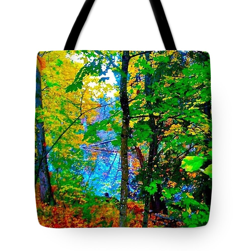 Fall Color Tote Bag featuring the photograph Reed College Canyon Reflections of Autumn by Anna Porter