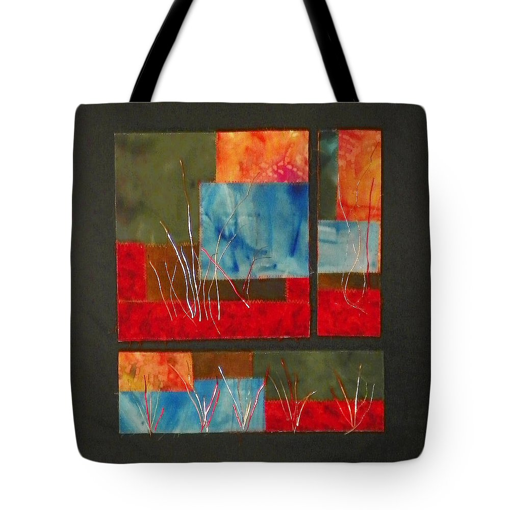 Nature Tote Bag featuring the mixed media Reeds by Jenny Williams