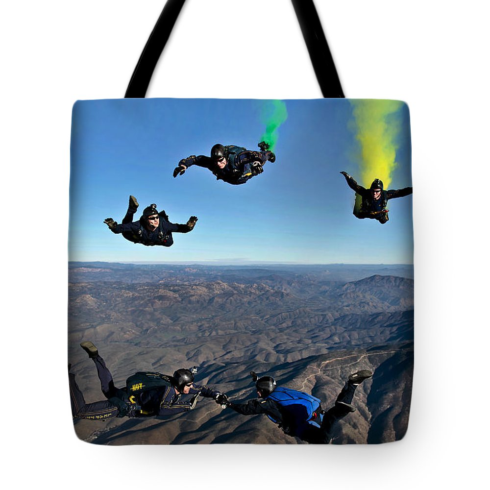 U.s. Navy Tote Bag featuring the photograph Reenlistment In The Clouds by Mountain Dreams