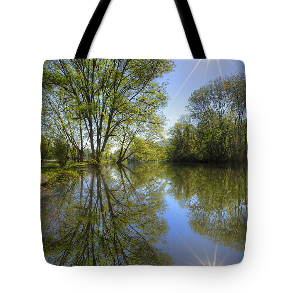 Appalachia Tote Bag featuring the photograph Reflected Star by Debra and Dave Vanderlaan