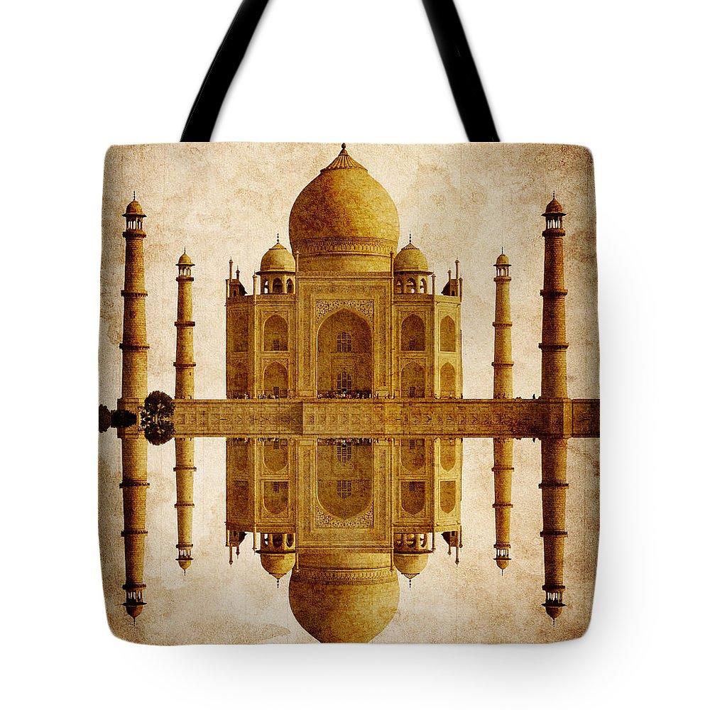 Taj Tote Bag featuring the digital art Reflected Taj Mahal by Daniel Hagerman