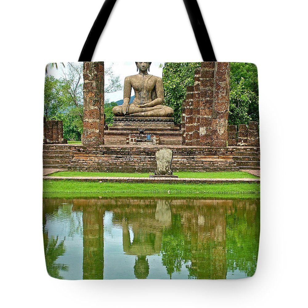 Reflecting Pool At Wat Mahathat In 13th Century Sukhothai Historical Park Tote Bag featuring the photograph Reflecting Pool At Wat Mahathat In 13th Century Sukhothai Historical Park-thailand by Ruth Hager