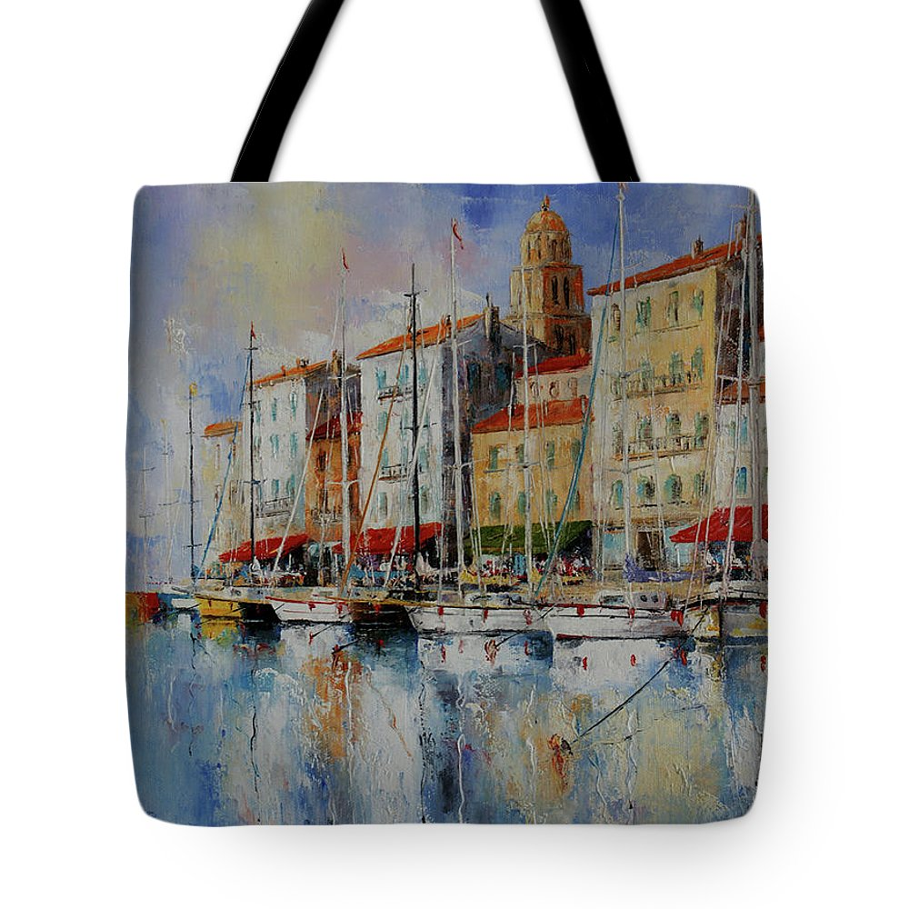 Seascapes Tote Bag featuring the painting Reflection - St.tropez - France by Miroslav Stojkovic