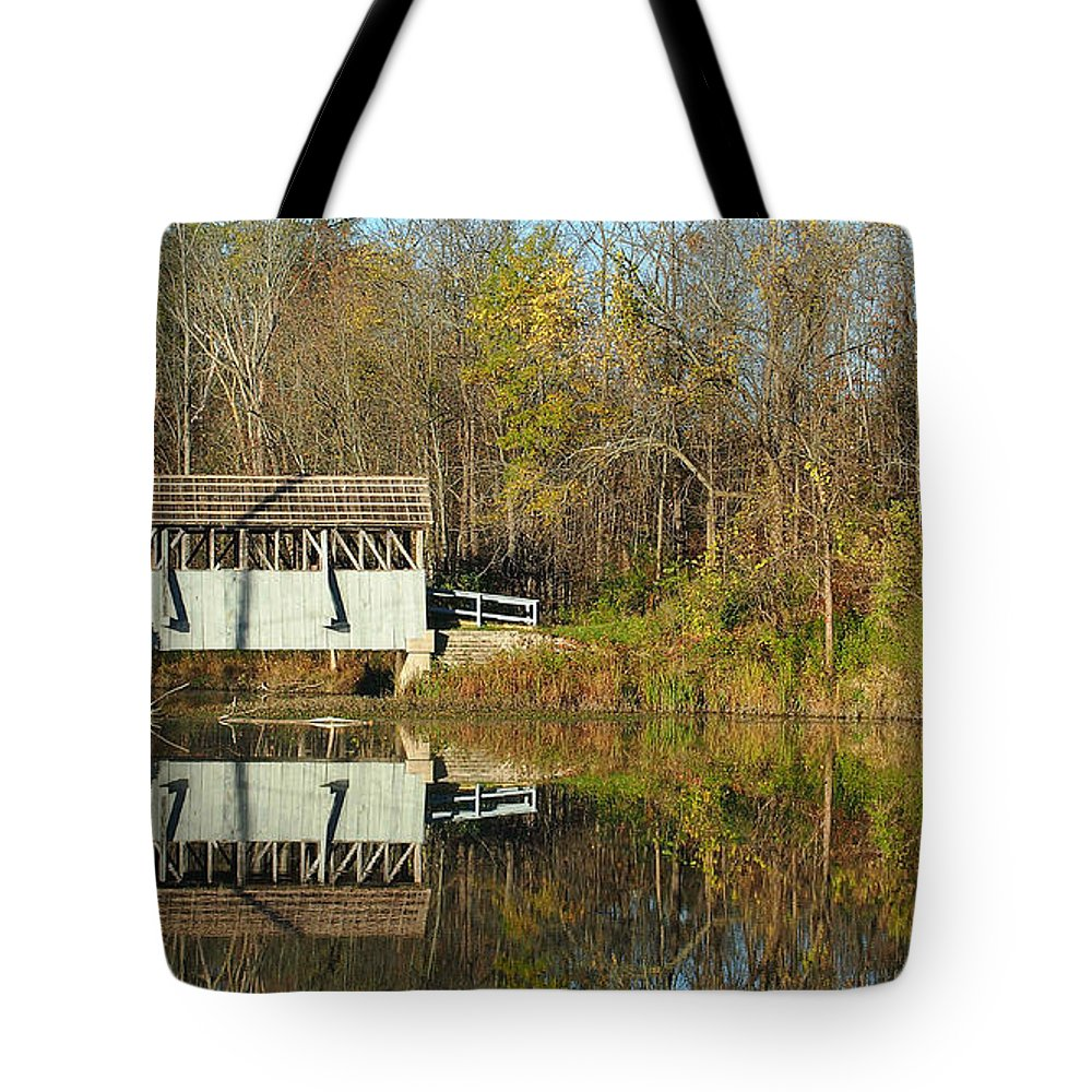 Covered Bridge Tote Bag featuring the photograph Reflection Bridge by Thomas Wasson