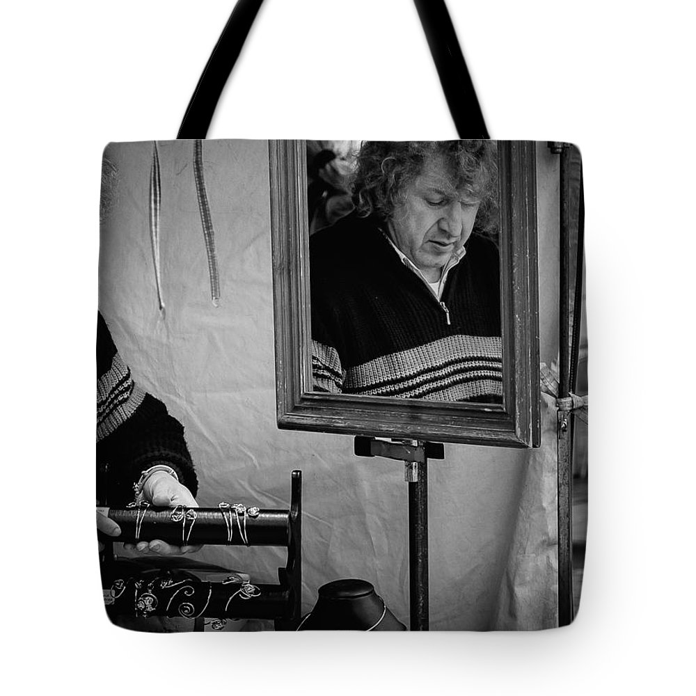 Man Tote Bag featuring the photograph Reflection Of A Man by Jimmy Karlsson