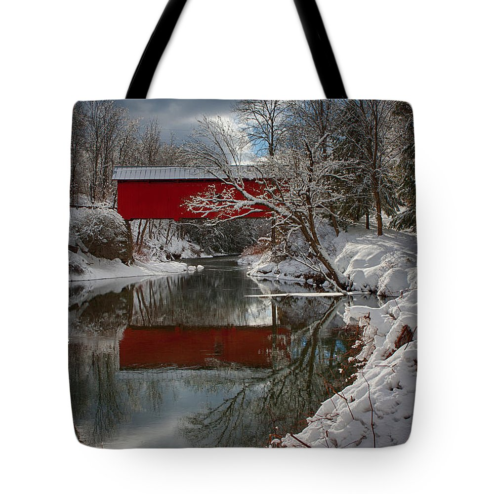 Covered Bridge Tote Bag featuring the photograph reflection of Slaughterhouse covered bridge by Jeff Folger