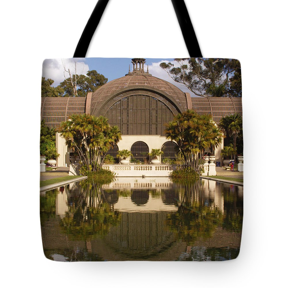 Botanical Building Tote Bag featuring the photograph Reflection/lily Pond, Balboa Park, San Diego, California by Denise Strahm
