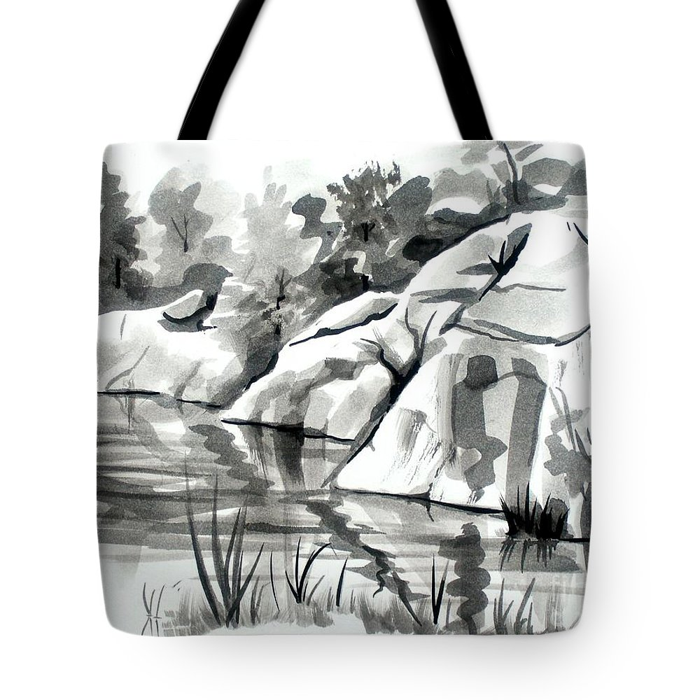 Reflections At Elephant Rocks State Park No I102 Tote Bag featuring the painting Reflections At Elephant Rocks State Park No I102 by Kip DeVore