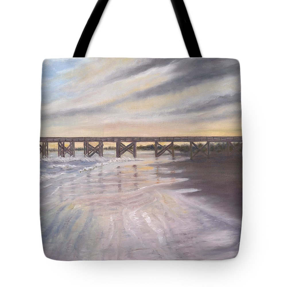 Beach; Pier; Low Country Tote Bag featuring the painting Reflections by Ben Kiger