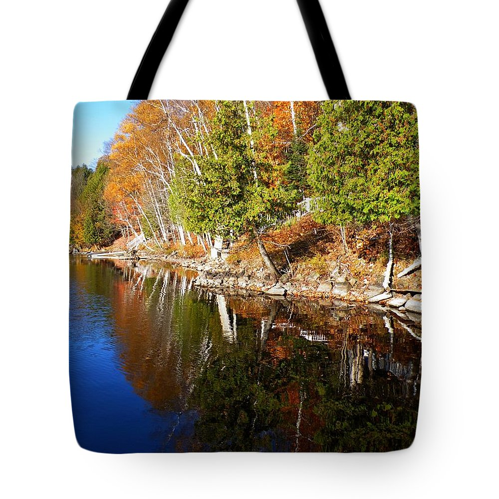 Nature Tote Bag featuring the photograph Reflections In Water by Davandra Cribbie