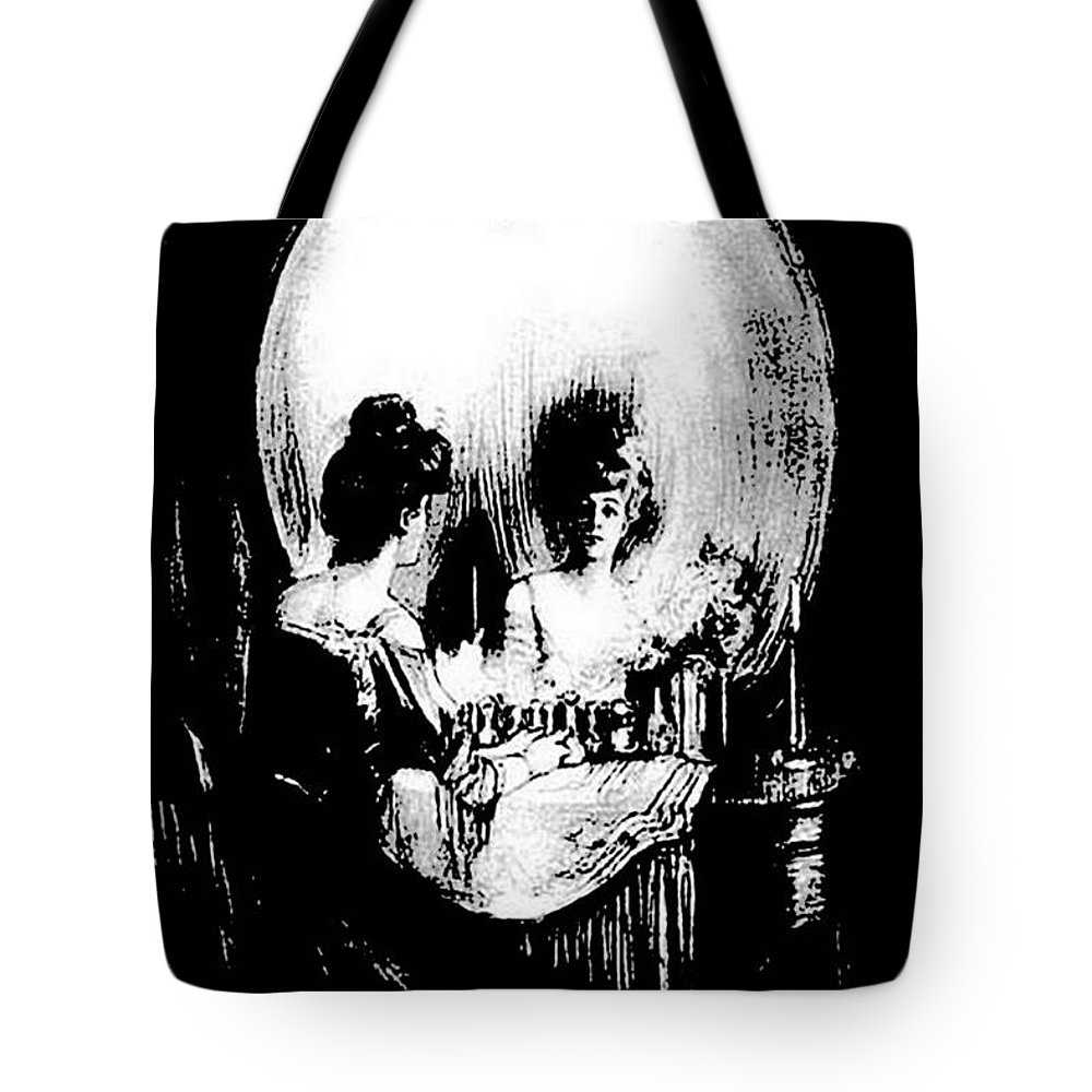 Halloween Tote Bag featuring the painting Reflections Of Death After Gilbert by Taiche Acrylic Art