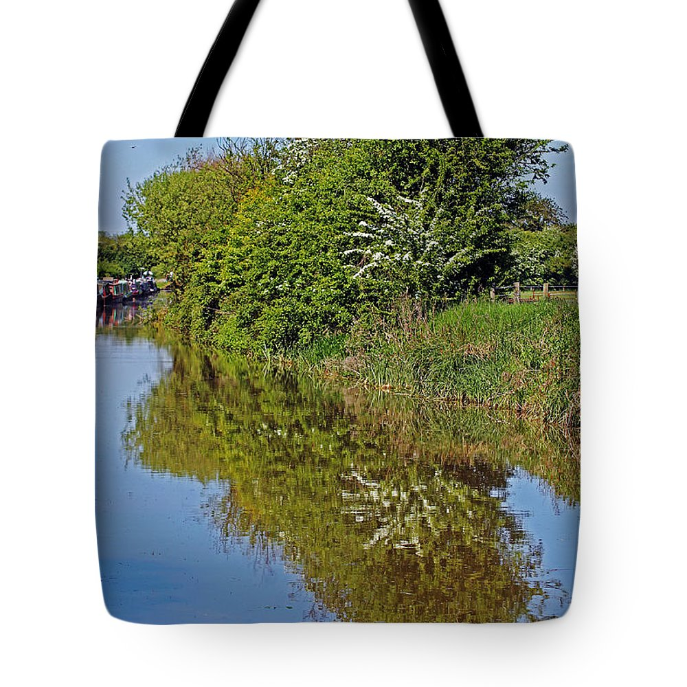 Oxford Canal Tote Bag featuring the photograph Reflections Of Trees by Tony Murtagh
