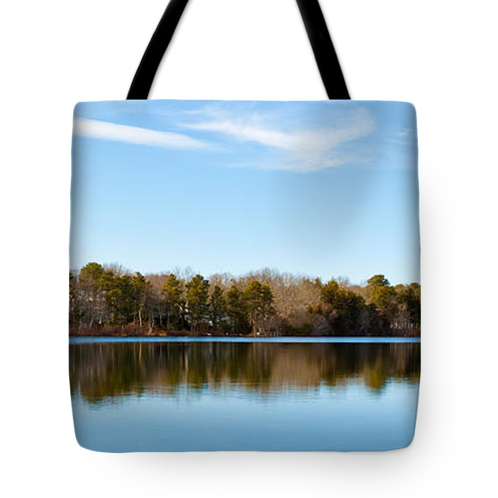 Reflections On Long Pond Tote Bag featuring the photograph Reflections On Long Pond by Michelle Constantine