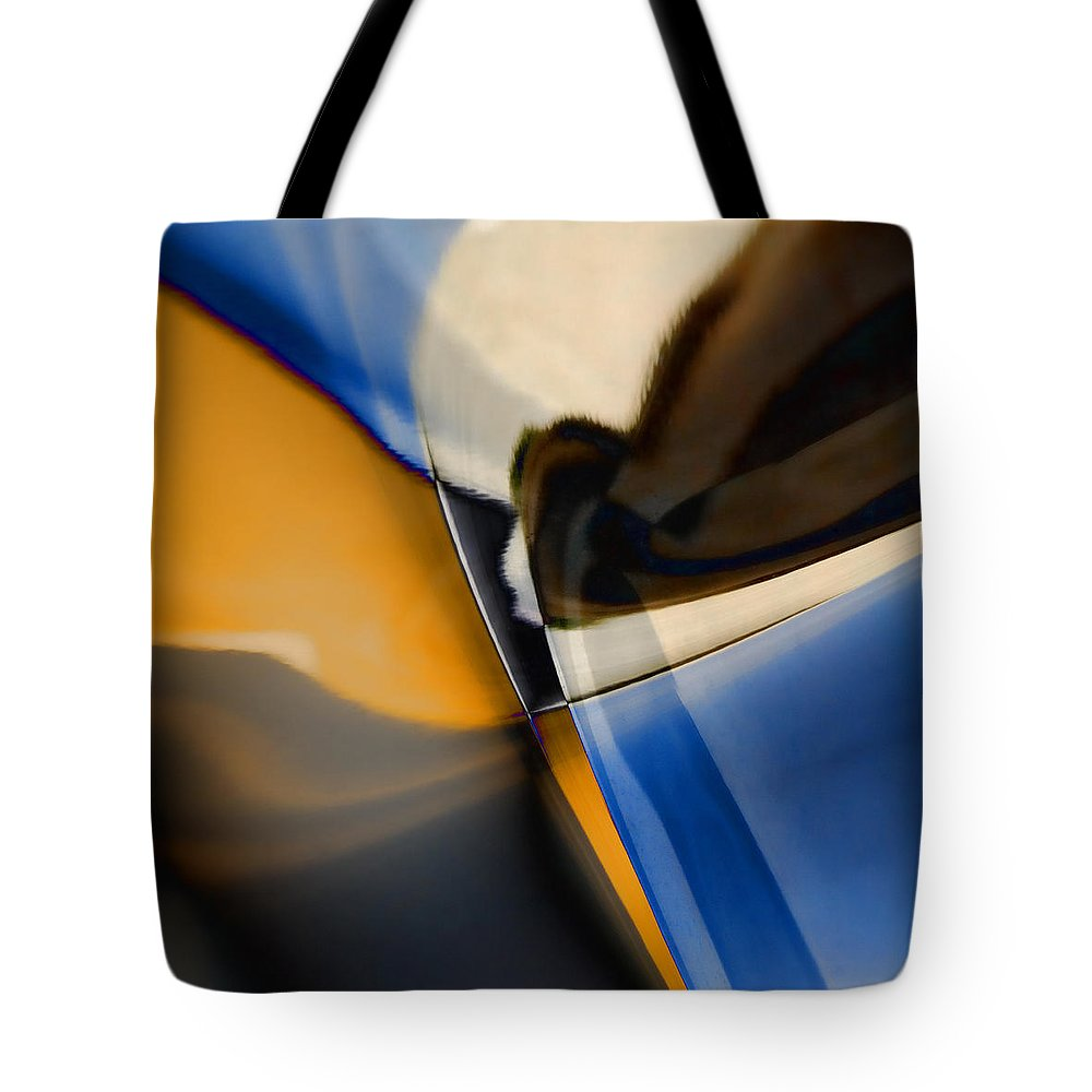 Abstract Tote Bag featuring the photograph Reflections On Porsche No. 1 by Carol Leigh