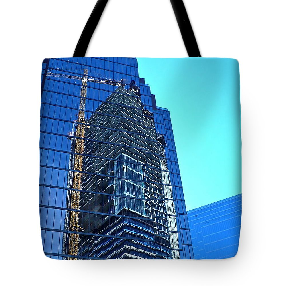 High Rise Tote Bag featuring the photograph Reflective Towers by Linda Bianic