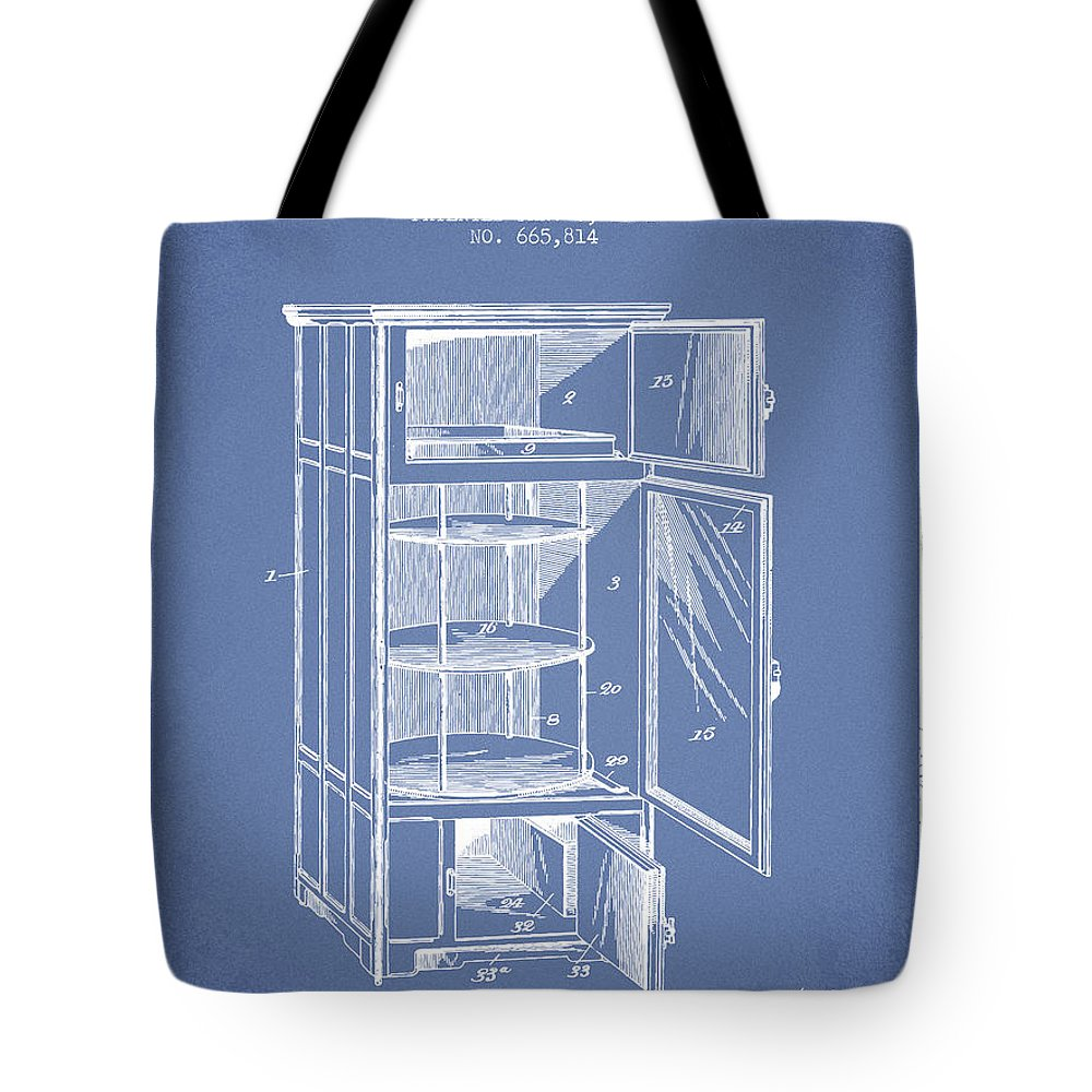Refrigerator Tote Bag featuring the digital art Refrigerator Patent From 1901 - Light Blue by Aged Pixel