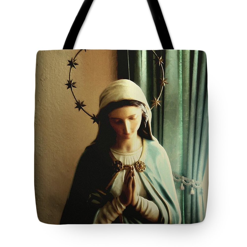 Catholic Tote Bag featuring the painting Regina Coeli by RC DeWinter