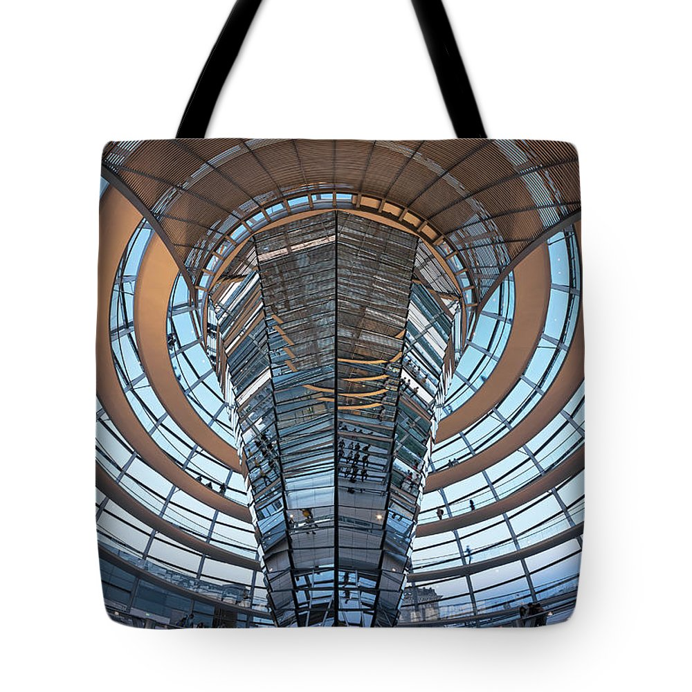 Norman Foster Tote Bag featuring the photograph Reichstag, Dome At Dusk by Siegfried Layda