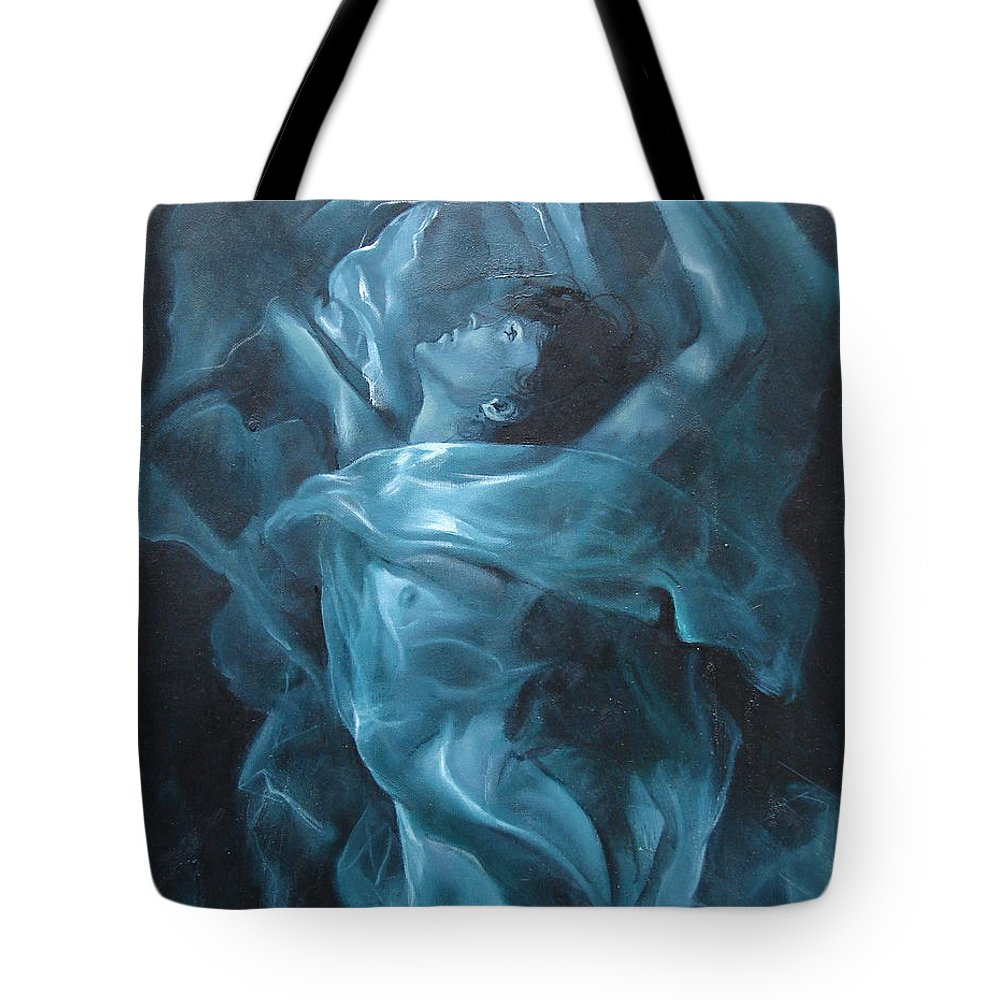 Oil Tote Bag featuring the painting Reincarnation by Sergey Ignatenko