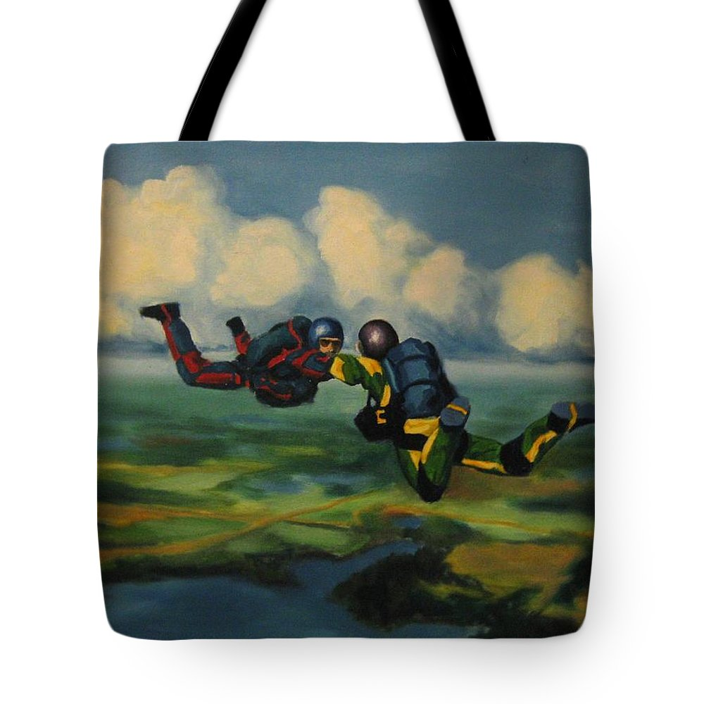 Skydivers Tote Bag featuring the painting Relative Work by John Malone