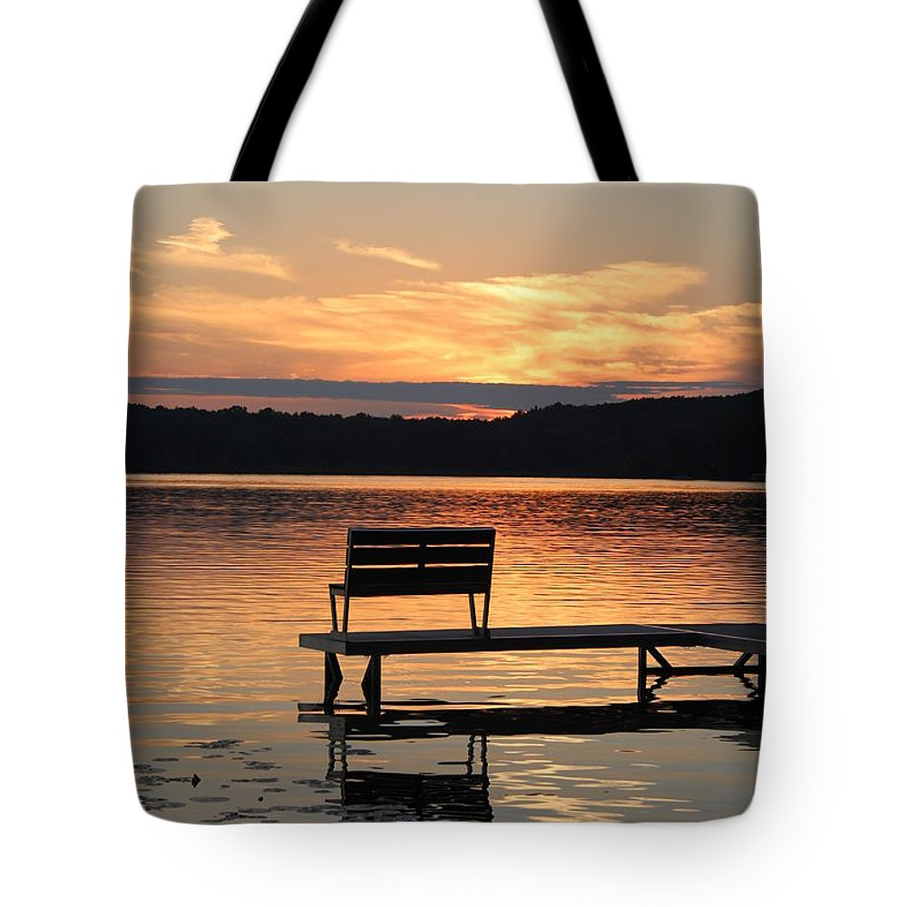 Sunset Tote Bag featuring the photograph Relax And Enjoy by Kathy DesJardins