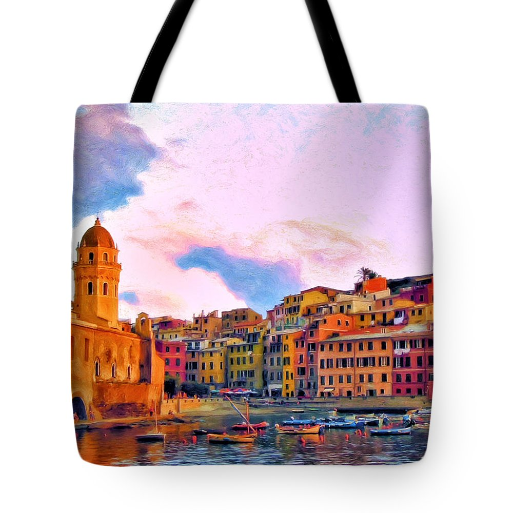 Cinque Terre Tote Bag featuring the painting Relaxing Around Vernazza by Michael Pickett
