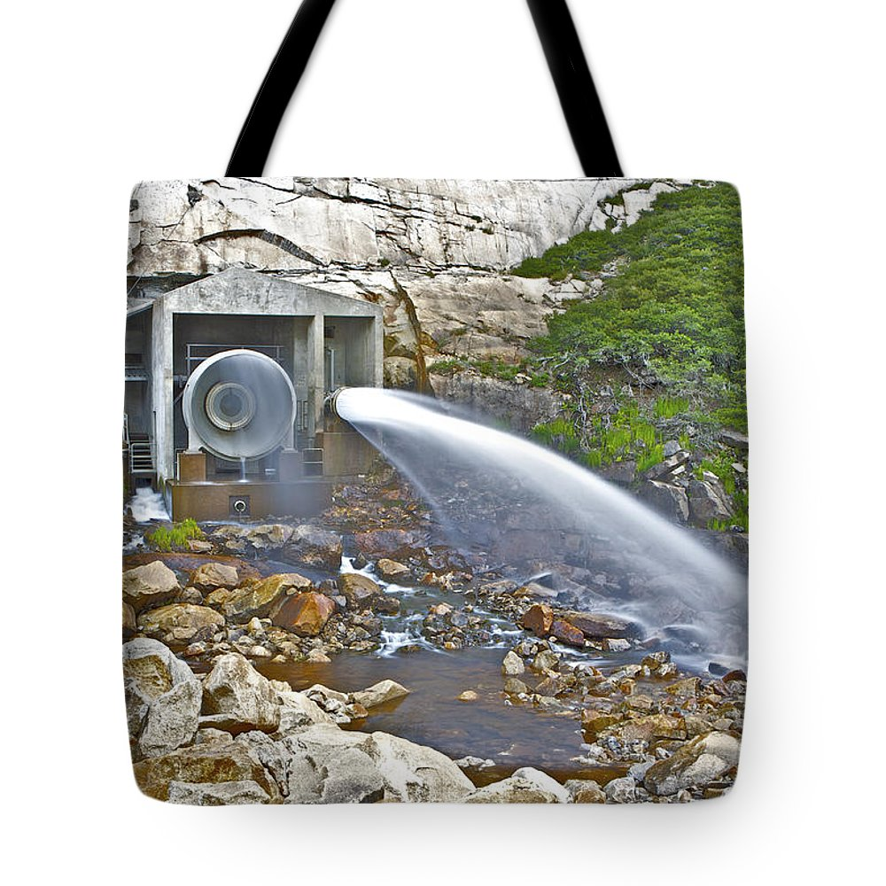 Ponderosa Pines Tote Bag featuring the photograph Release And Discharge Lower Bear River by SC Heffner