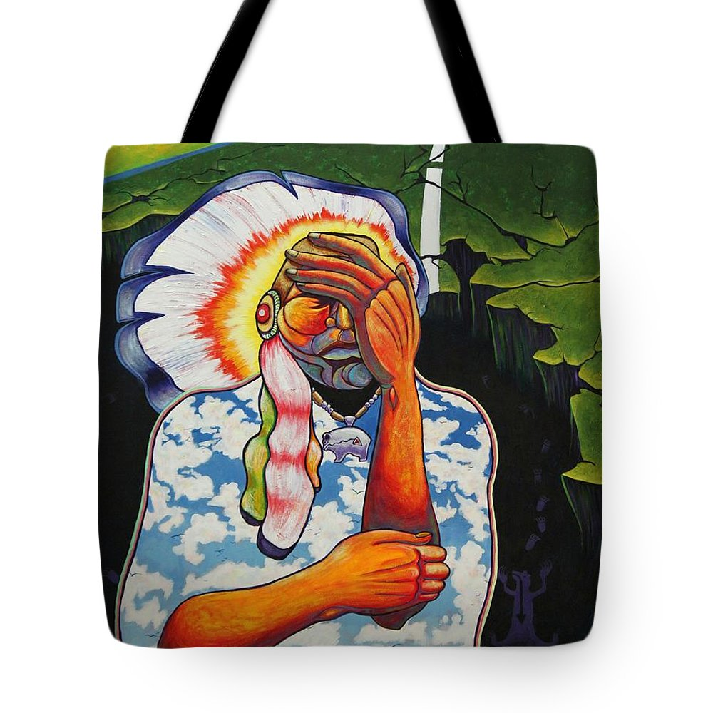 American Indian Tote Bag featuring the painting Release Me by Joe Triano