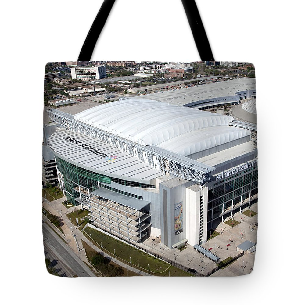 Houston Tote Bag featuring the photograph Reliant Stadium In Houston by Bill Cobb