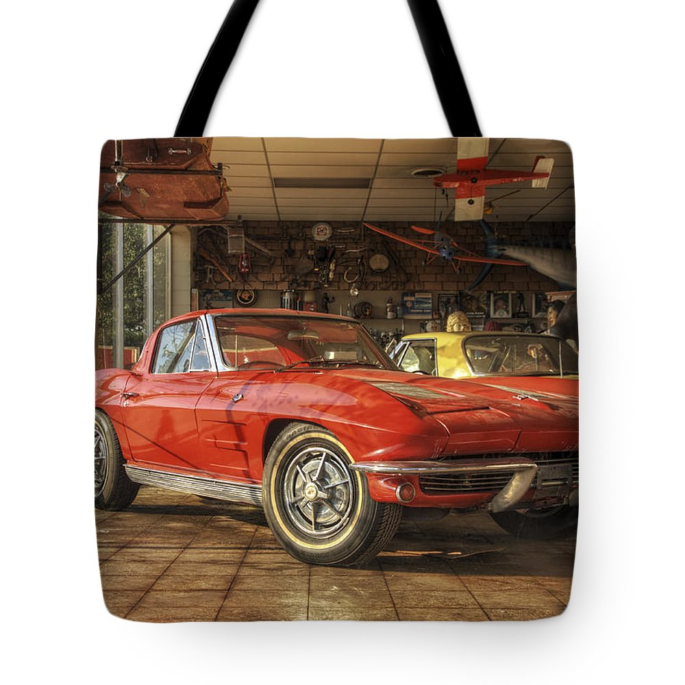Corvette Tote Bag featuring the photograph Relics Of History - Corvette - Elvis - Nehi by Jason Politte