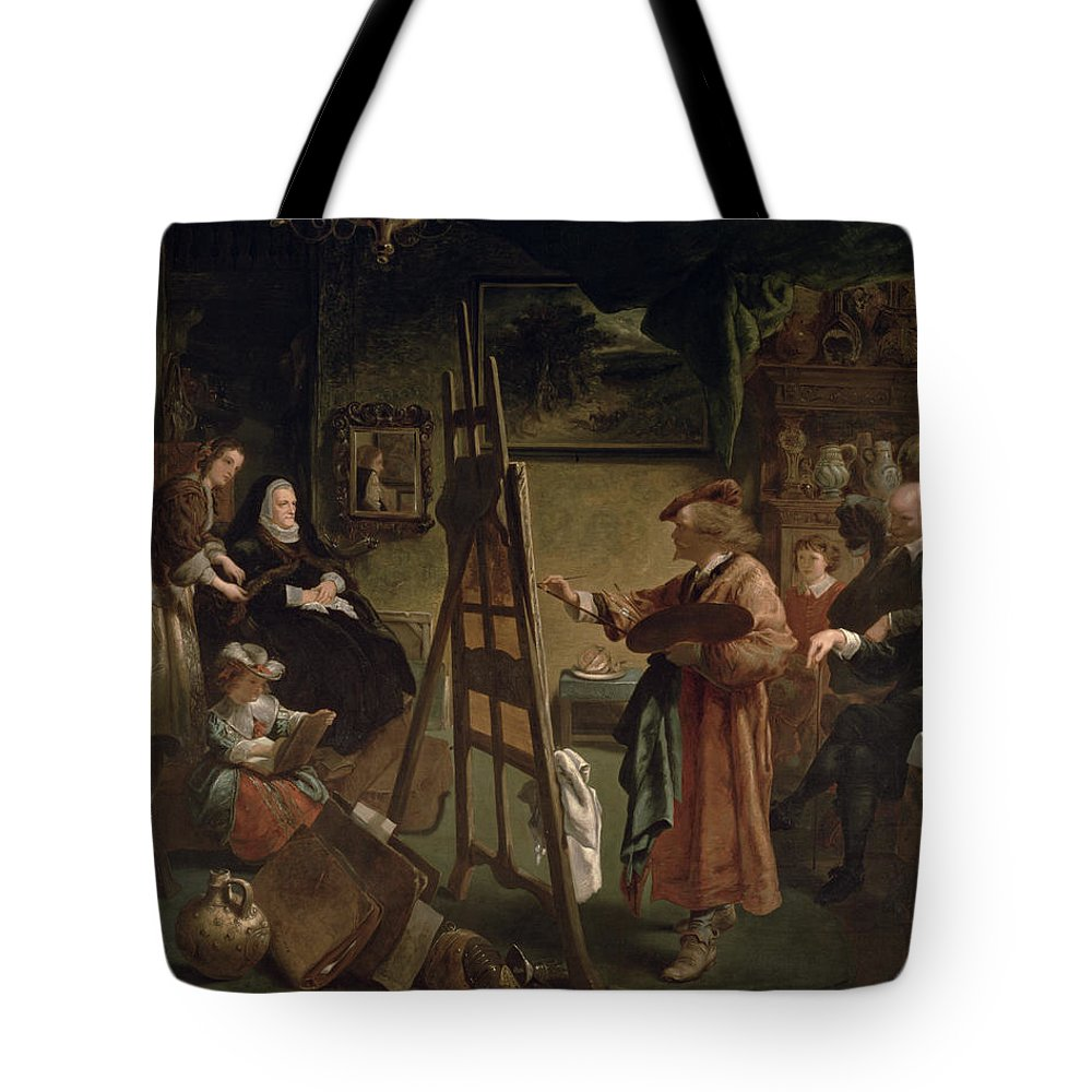 Harmensz Tote Bag featuring the painting Rembrandt In His Studio by Sir John Gilbert