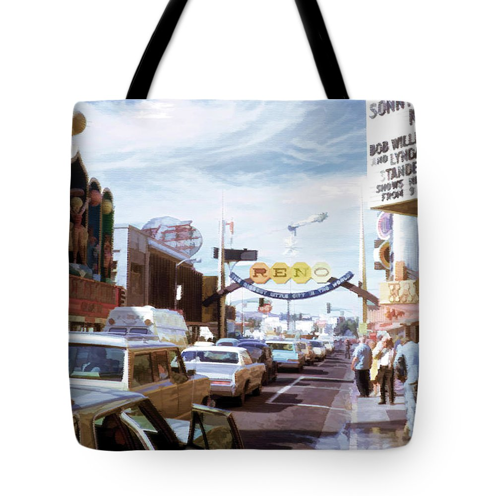 Tote Bag featuring the digital art Reno At Mid Century by Cathy Anderson