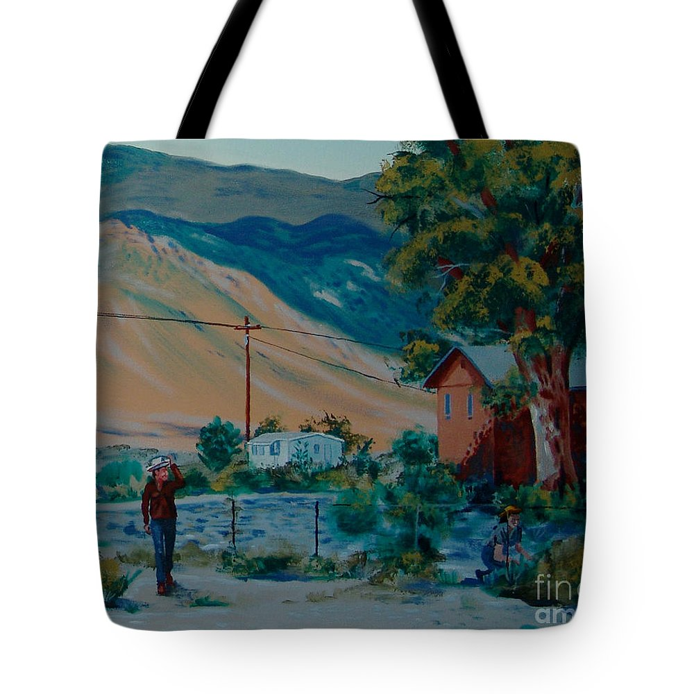 Canvas Prints Tote Bag featuring the painting Reservation Life by Joseph Juvenal