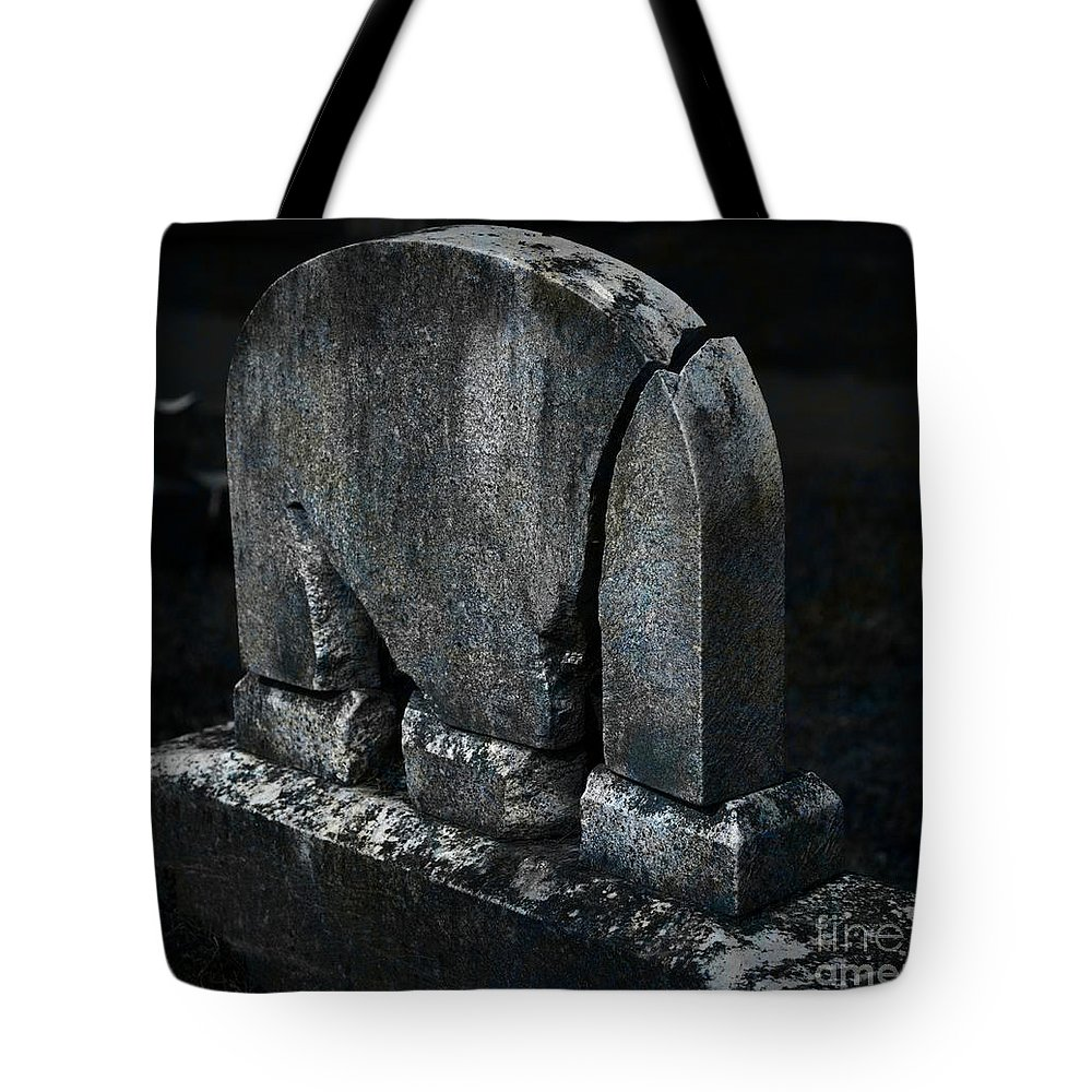 Tombstone Tote Bag featuring the photograph Rest In Pieces by John Stephens