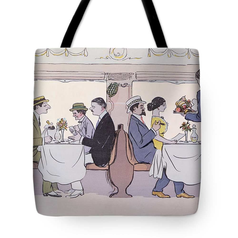 restaurant car in the paris to nice train tote bag for sale by sem. Black Bedroom Furniture Sets. Home Design Ideas