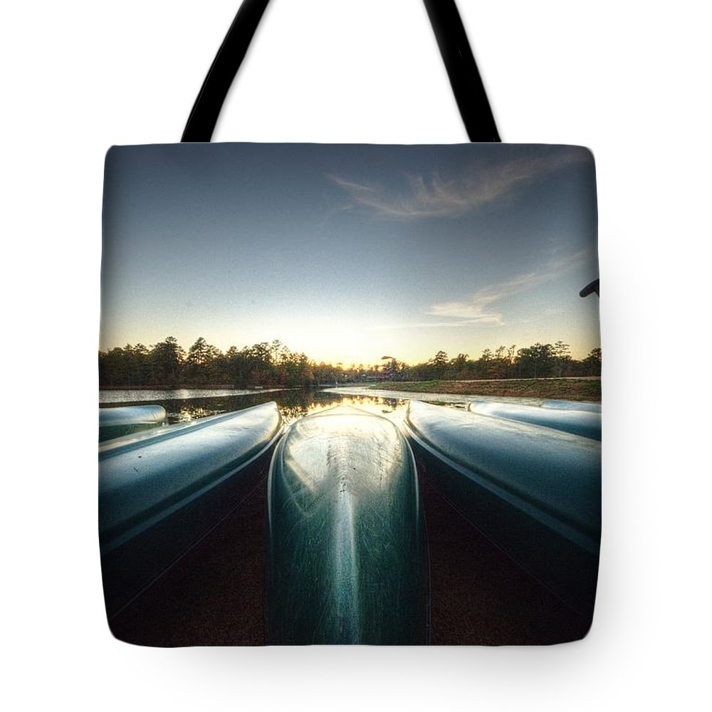 Allaso Ranch Tote Bag featuring the photograph Resting Canoes by David Morefield