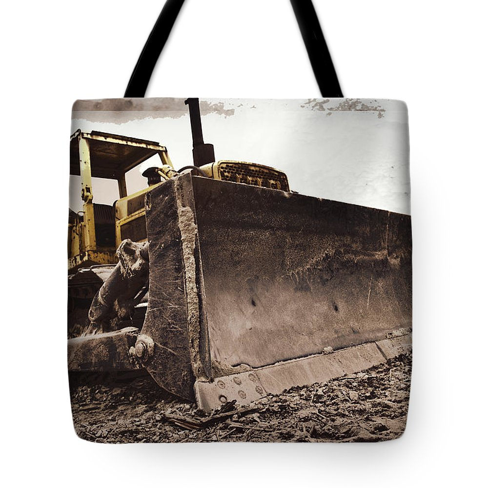 Bulldozer Tote Bag featuring the photograph Restore The Shore by Tom Gari Gallery-Three-Photography