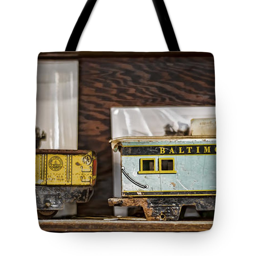 Train Tote Bag featuring the photograph Retired Trains by Heather Applegate
