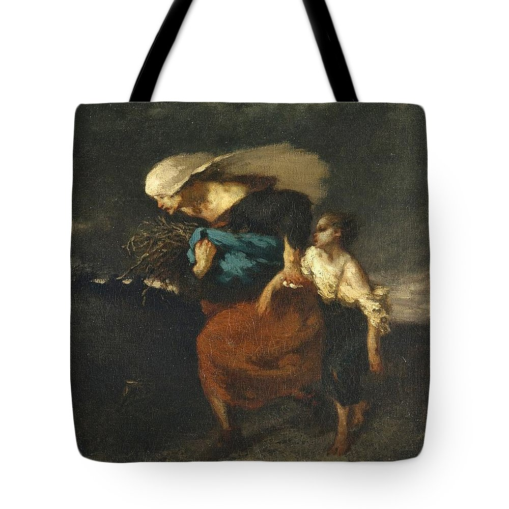 Jean-francois Millet Tote Bag featuring the painting Retreat From The Storm by Celestial Images