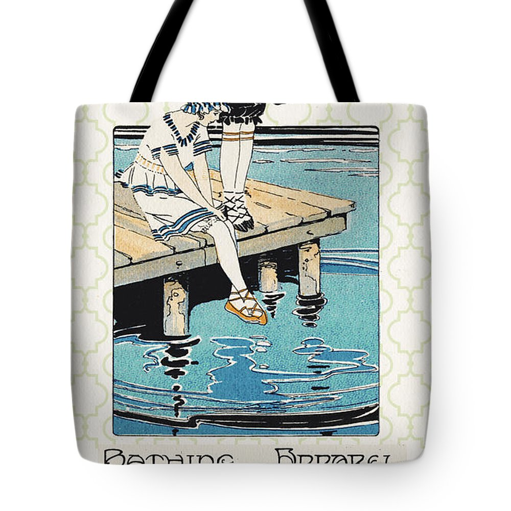 Jean Plout Tote Bag featuring the digital art Retro Bathing Apparel Sign by Jean Plout