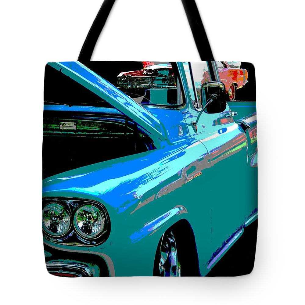 Retro Tote Bag featuring the photograph Retro Blue Truck by Nicki Bennett