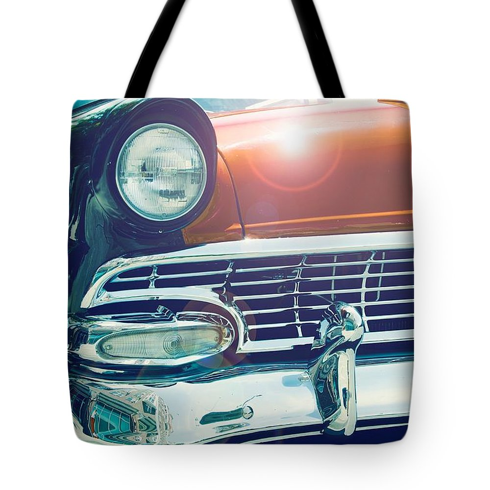 Transportation Tote Bag featuring the photograph Retro Car by FL collection