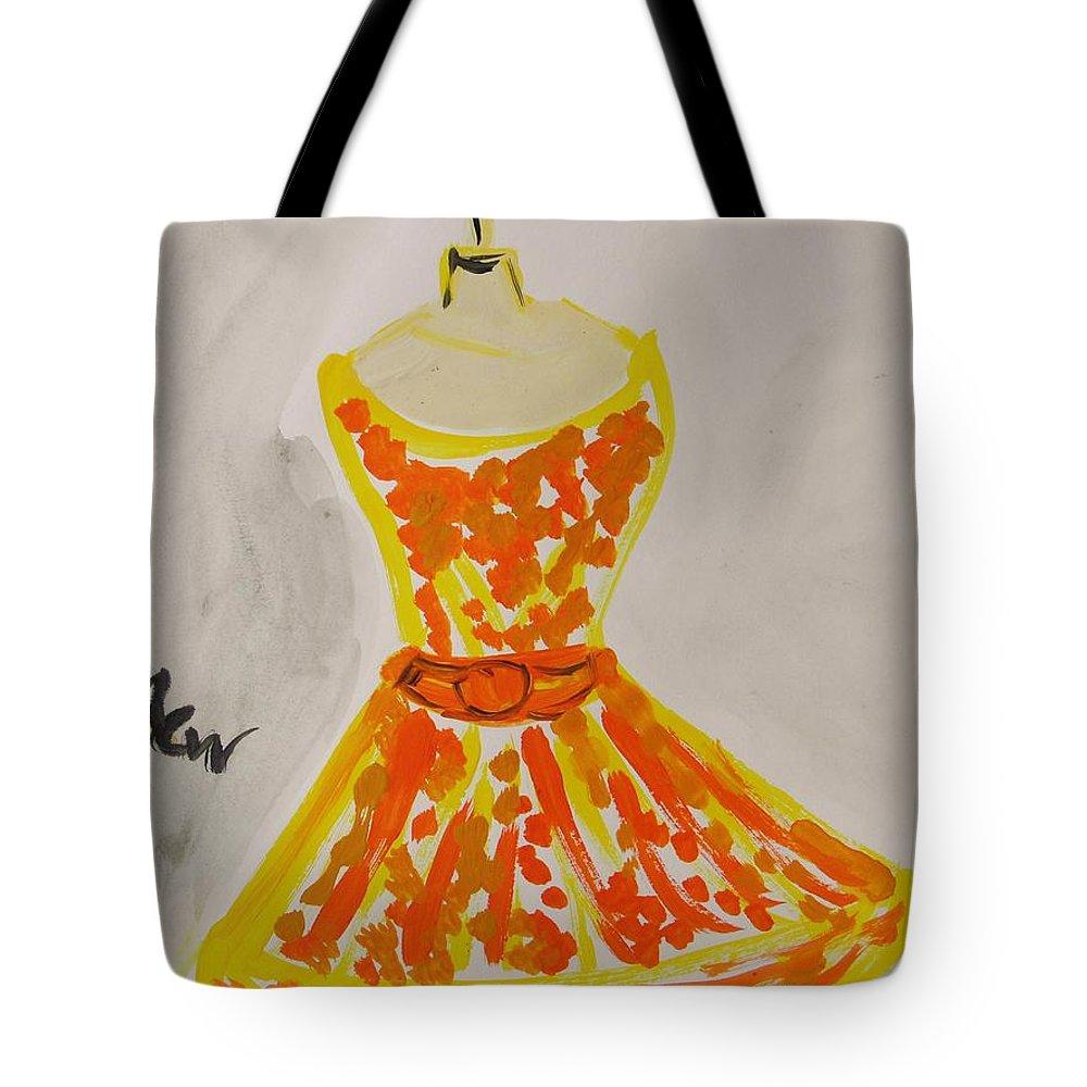 Retro Fall Fashion Tote Bag featuring the painting Retro Fall Fashion by Mary Carol Williams