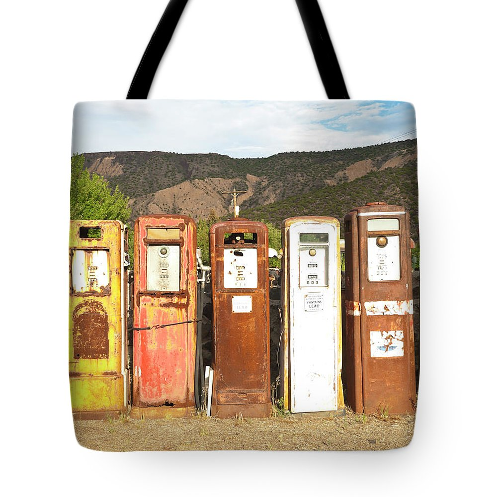 Home Decor Tote Bag featuring the photograph Retro Gas Pumps In Outdoor Museum Nm by Helovi
