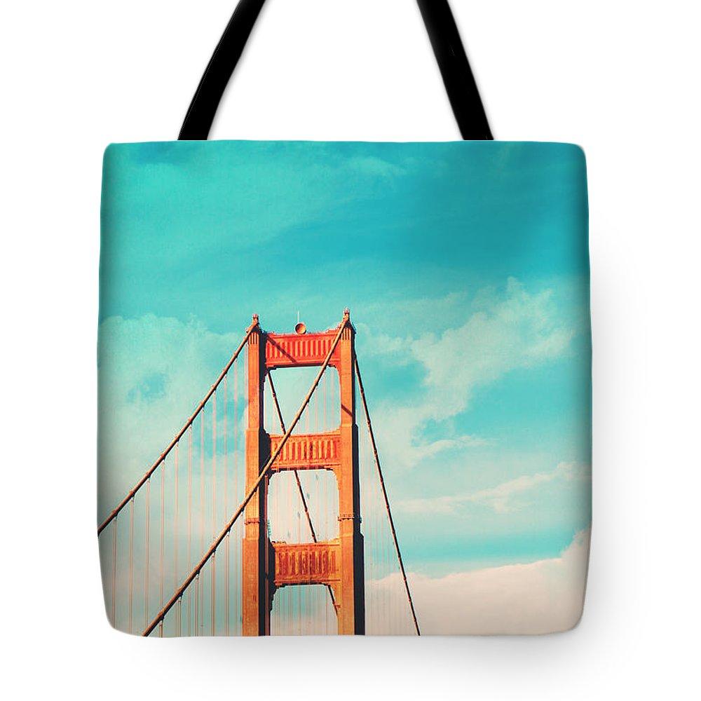 San Francisco Tote Bag featuring the photograph Retro Golden Gate - San Francisco by Melanie Alexandra Price