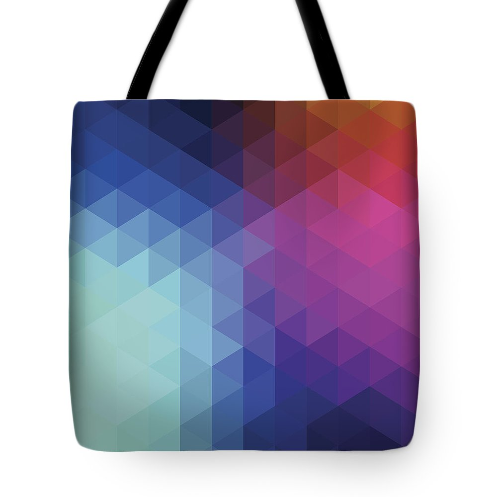 Triangle Shape Tote Bag featuring the digital art Retro Hexagon Abstract Background by Mustafahacalaki