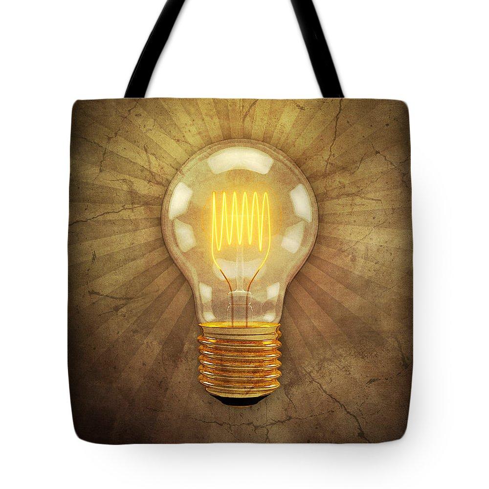 Lightbulb Tote Bag featuring the digital art Retro Light Bulb by Scott Norris