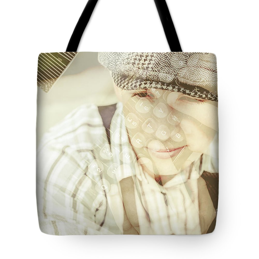 Ambition Tote Bag featuring the photograph Retro Typist With Dream To Inspire by Jorgo Photography - Wall Art Gallery